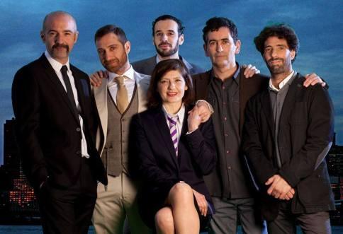 Jorge Sánchez y Juan Mayorga junto al elenco de Famélica