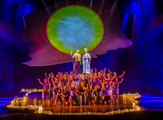 Centre LtoR Luke Brady as Moses and Liam Tamne as Ramses in The Prince Of Egypt, credit Tristram Kenton ©DWA LLC